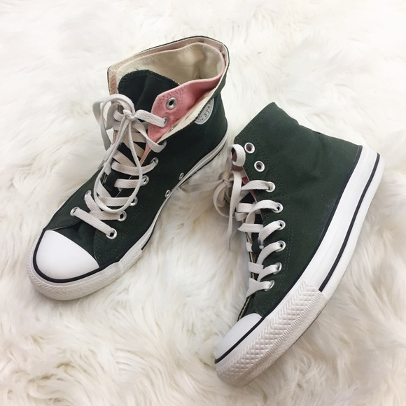 26370204b013 Converse Shoes - CONVERSE Green Pink High Top Sneakers Layered